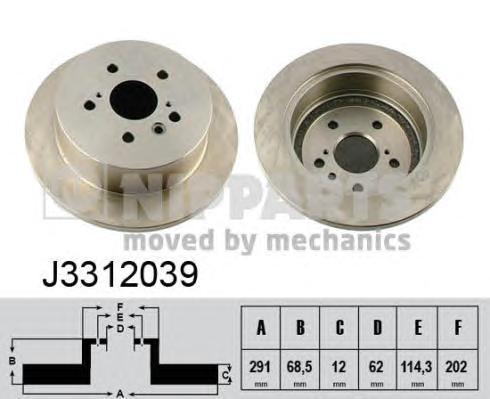 J3312039 Диск тормозной TOYOTA AVENSIS VERSO 2.0 01-/PREVIA 00- задний D=291мм.