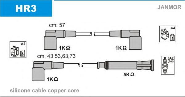 HR3 Комплект проводов зажигания BMW: 3 82-92, 3 90-98