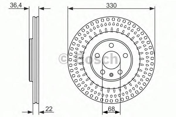 0986479750 Диск тормозной AUDI A4/A5 07-/A6/A7/A8 10-/Q5 задний вент.D=330мм.