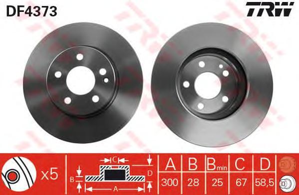 DF4373 Диск тормозной MERCEDES VIANO/VITO W639 2.0-3.7 03- передний вент.