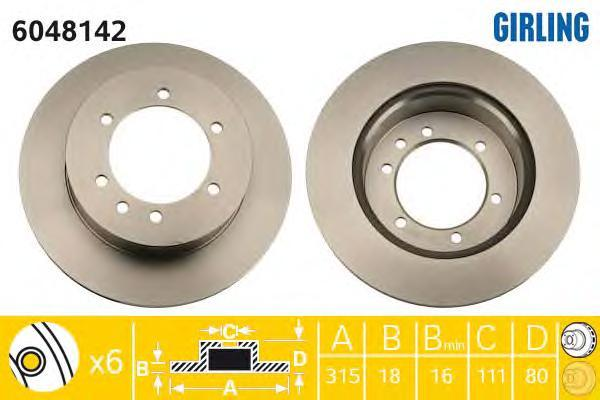 6048142 Диск тормозной NISSAN PATROL 88-10 задний вент.D=316мм.