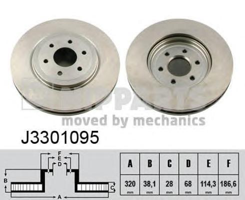 J3301095 Диск тормозной NISSAN PATHFINDER 05/NAVARA 05 передний