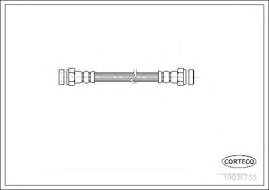 19031735 Шланг тормозной SKODA: FELICIA II 1.3/1.6/1.9 D 98-01  VW: CADDY II пикап 1.6/1.9 D 96-00