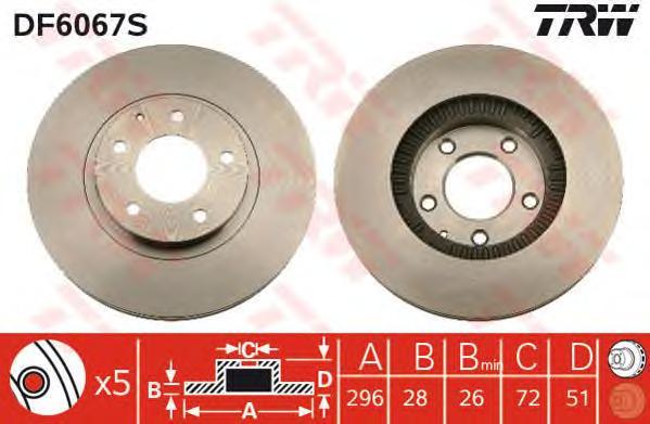 DF6067S Диск тормозной MAZDA MPV 02- передний вент.D=296мм.