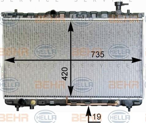8MK376762341 Радиатор системы охлаждения HYUNDAI: SANTA FE (SM) 2.7 V6 4x4 01-