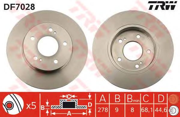 DF7028 Диск тормозной задн NISSAN: MAXIMA QX 95-00, MAXIMA Station Wagon 97-