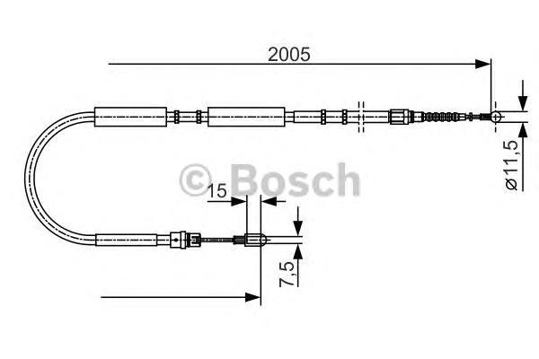1987477923 Трос ручного тормоза AUDI A4 -08 2005мм