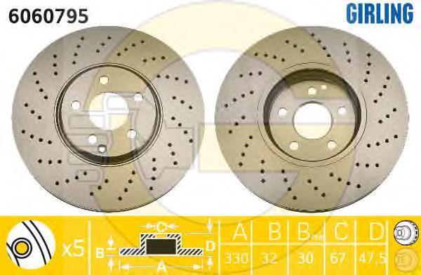 6060795 Диск тормозной MERCEDES W211/W220 4-matic передний вент.D=330мм.
