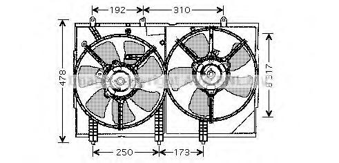 MT7523 Вентилятор радиатора MITSUBISHI OUTLANDER 03-
