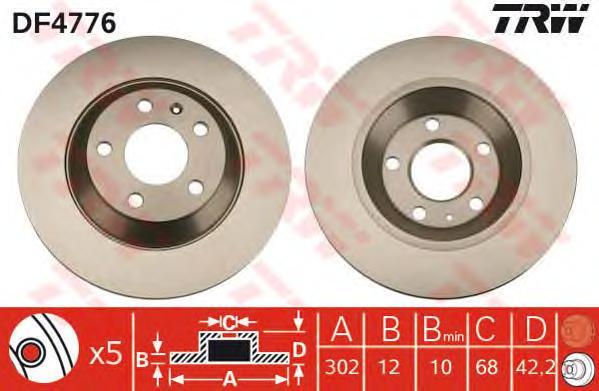 DF4776 Диск тормозной AUDI A6 ALLROAD 2.7-4.2 06- задний D=302мм.