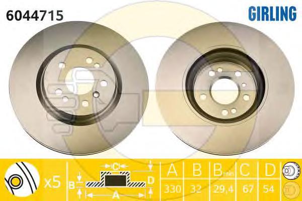6044715 Диск тормозной MERCEDES ML W164/R W251 280-350 05- передний вент. D=330мм.