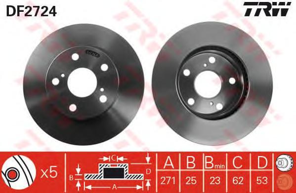 DF2724 Диск тормозной TOYOTA PREVIA 2.4 90-00 передний вент.D=271мм.