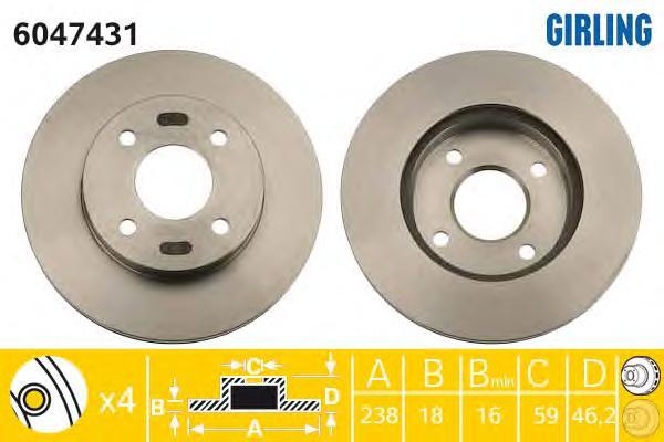 6047431 Диск тормозной NISSAN MICRA 98-03 передний вент.D=238мм.