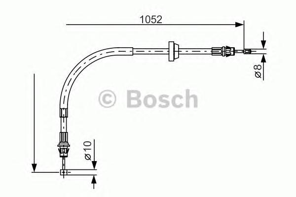 1987477186 Трос ручного тормоза FORD TRANSIT 00-06 L-1052mm барабан.торм.передний