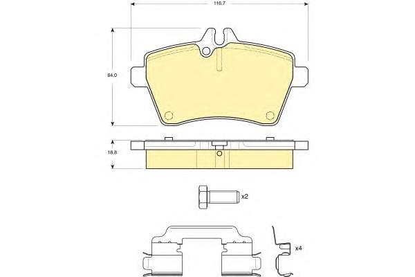 6116301 Колодки тормозные MERCEDES A-CLASS W169/B-CLASS W245 1.5-2.0 04- передние