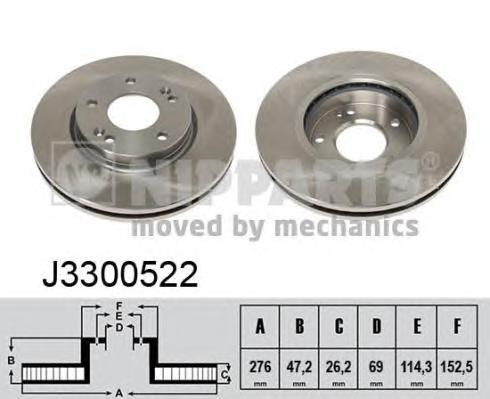 J3300522 Диск тормозной HYUNDAI SANTA FE (SM) 01-/TRAJET 00- передний D=276мм.