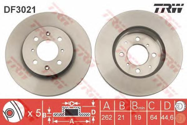 DF3021 Диск тормозной HONDA CIVIC 89-05/ROVER 200 95-00/400 95-00/45 00- передний
