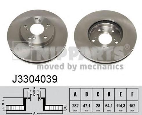 J3304039 Диск тормозной HONDA ACCORD 3.0 98-03 передний вент.D=282мм.