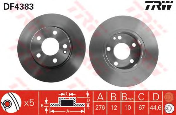 DF4383 Диск тормозной MERCEDES W169 A150-160 04- передний не вент.D=276мм.