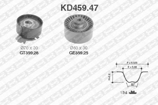 KD45947 Комплект ремня ГРМ PEUGEOT 306/PARTNER/CITROEN C2/C3 1.6