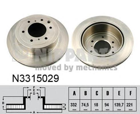 N3315029 Диск тормозной MITSUBISHI PAJERO 07- задний вент.D=332мм.