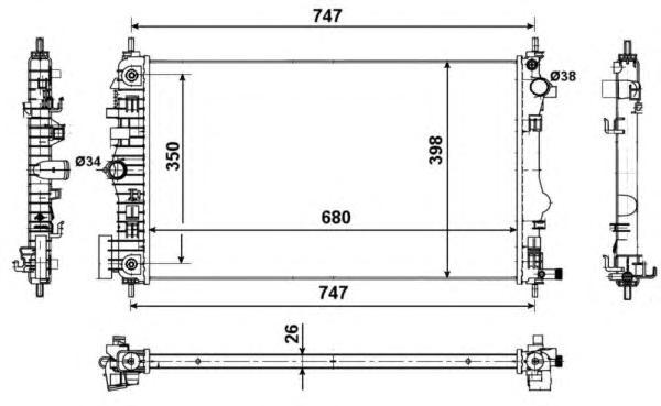53775 Радиатор OP Insig 2,0T/2,8T 08-, Saab 9-5