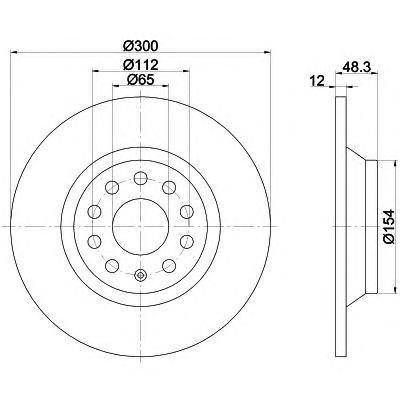 8DD355119481 Диск тормозной VW GOLF VII 12- задний D=300мм.