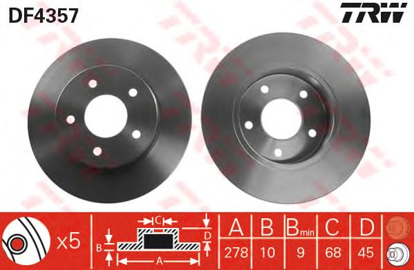 DF4357 Диск тормозной NISSAN PRIMERA (P12) 1.6-2.2D 02- задний