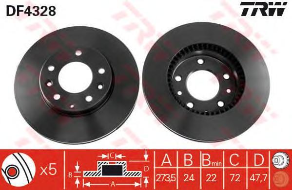 DF4328 Диск тормозной MAZDA 323 2.0 01-04/626 2.0 98-02/6 1.8 02-/PREMACY 2.0 99- пер.