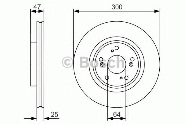 "0986479R24 Диск тормозной HONDA CR-V II 16"" 05-06/ACCORD 16"" 03- передний вент. D=300мм."