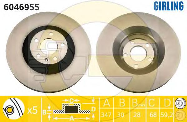 6046955 Диск тормозной AUDI A6/A6 ALLROAD 04- передний вент.D=347мм.