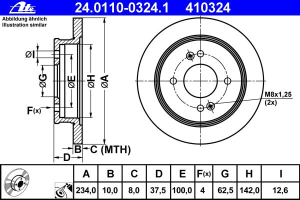 24011003241 Диск тормозной задн, HYUNDAI: i10 1.0/1.1/1.1 CRDi/1.2 07-  KIA: PICANTO 1.0/1.1/1.1 CRDi 04-, PICANTO 1.0/1.0 Bi-Fu