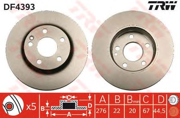 DF4393 Диск тормозной передн MERCEDES-BENZ: A-CLASS 04-, B-CLASS 05-