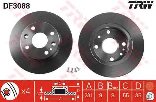 DF3088 Диск тормозной MAZDA 323 89-94/MX-5 90-98 задний D=231мм.
