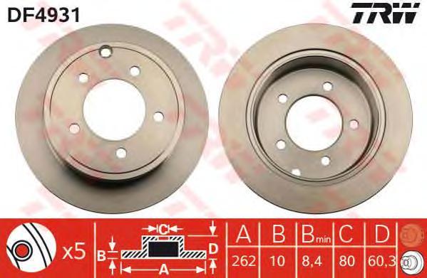 DF4931 Диск тормозной CHRYSLER SEBRING/DODGE CALIBER/JEEP COMPASS 06- задний D=262мм.