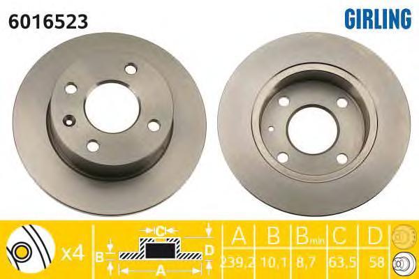 6016523 Диск тормозной FORD ESCORT/ORION 80-90 передний D=239мм.