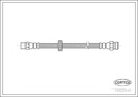 19020441 Шланг тормозной SEAT: TOLEDO I 2.0 i/2.0 i 16V 91-99  VW: GOLF II 1.8 GTI 16V 83-92, JETTA II 1.8 16V 83-92