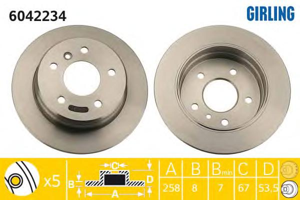 6042234 Диск тормозной MERCEDES A-CLASS W168 160-210 задний D=258мм.