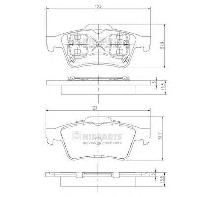 J3611045 Колодки тормозные NISSAN PRIMERA (P12) 02-/RENAULT LAGUNA 01- задние