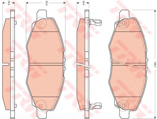 GDB3427 Колодки тормозные дисковые передн TOYOTA: HILUX пикап 01-