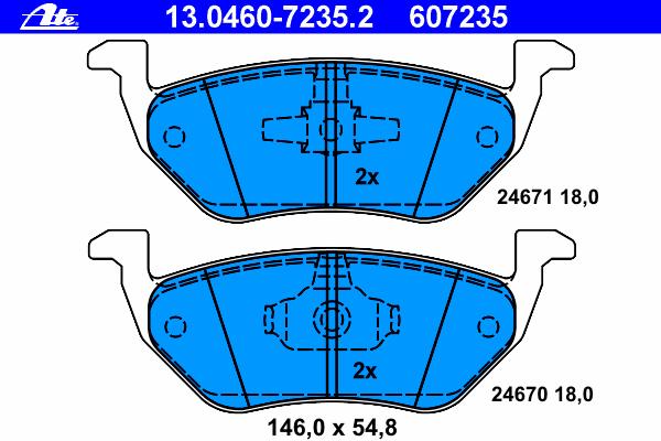 13046072352 Колодки тормозные дисковые задн, FORD: MAVERICK 2.0 16V/2.3 16V/3.0 V6 24V 01-  MAZDA: TRIBUTE 2.3 AWD/3.0 V6 AWD 00