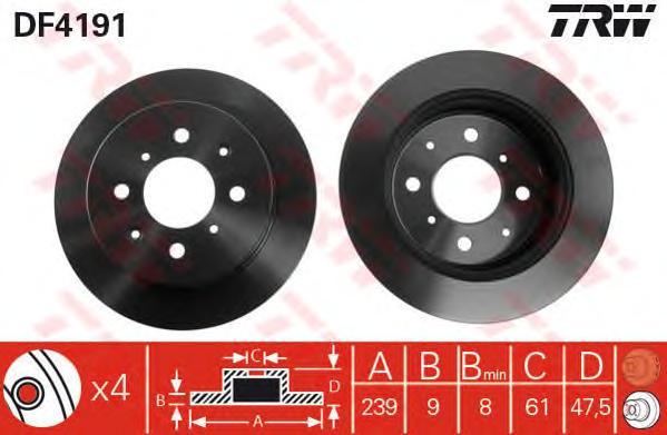 DF4191 Диск тормозной HONDA JAZZ 02- задний D=239мм.