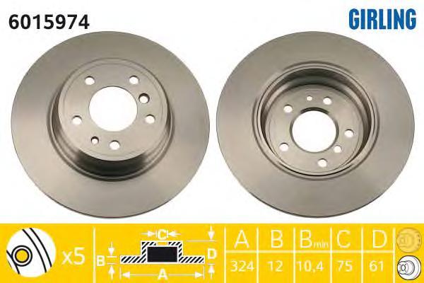 6015974 Диск тормозной BMW 7 E38 725-740 94-01/8 E31 90-99 задний D=324мм.