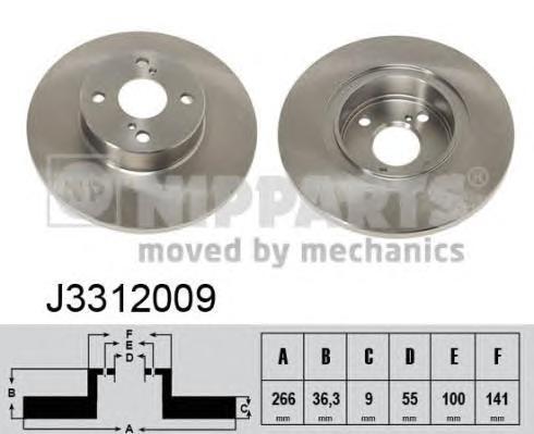 J3312009 Диск тормозной TOYOTA COROLLA 92-02 задний D=266мм.