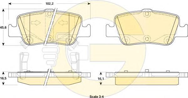 6134804 Колодки тормозные TOYOTA AURIS 1.33-2.2 07- (Великобритания) задние