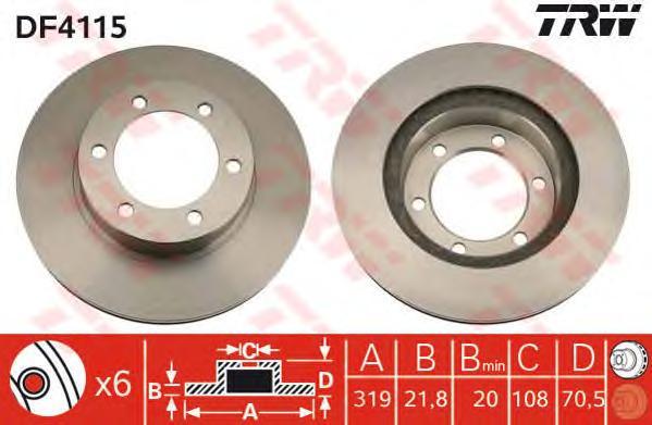 DF4115 Диск тормозной TOYOTA 4RUNNER 95-96/LAND CRUISER (J90) 3.0-3.4 96- передний