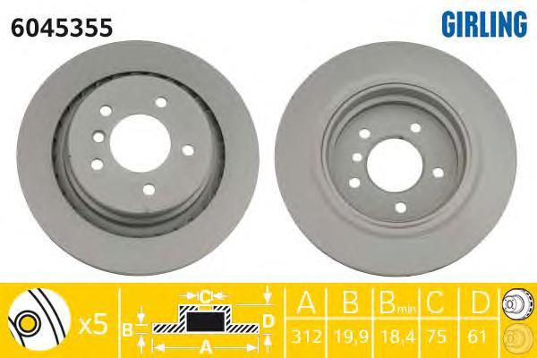 6045355 Диск тормозной BMW M3 E36 3.0-3.2 92-03 задний левый