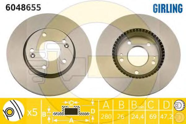 6048655 Диск тормозной HYUNDAI TUCSON 06-/i30 09-/KIA CEED 06-/SPORTAGE 04- передний