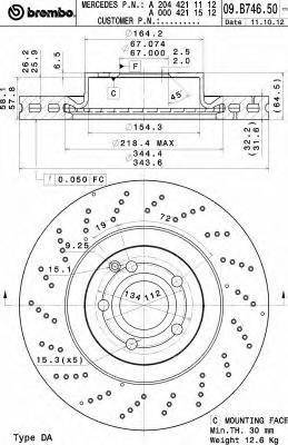 09B74651 Диск тормозной MERCEDES W204/212/207 передний D=344мм.