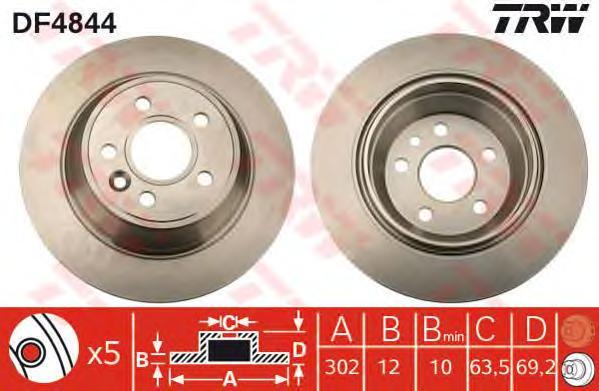 DF4844 Диск тормозной VOLVO S80 06-/V70 07-/XC70 07- задний без эл.стоян.торм.D=302мм.